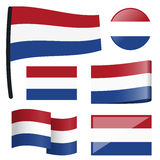Collection flags Netherlands. Collection of different swung flags of country Netherlands Royalty Free Stock Photos