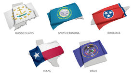 A collection of the flags of Rhode Island, South Carolina, Tenne. The realistic flag of Rhode Island, South Carolina, Tennessee, Texas, Utah covering the country Royalty Free Stock Image