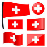 Collection flags Switzerland. Collection of different swung flags of country Switzerland Stock Photos