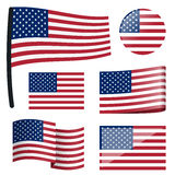 Collection flags USA. Collection of different swung flags of country USA Royalty Free Stock Images