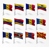 Collection of flags of world on flagpole Stock Photos
