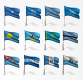 Collection of flags of world on flagpole. Collection set of flags of world on flagpole Royalty Free Stock Photos