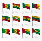 Collection of flags of world on flagpole Royalty Free Stock Images