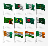 Collection of flags of world on flagpole Stock Photography