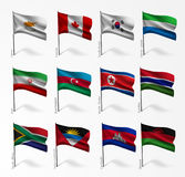 Collection of flags of world on flagpole Stock Images