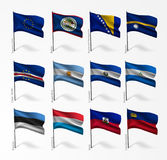 Collection of flags of world on flagpole Royalty Free Stock Photos