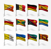 Collection of flags of world on flagpole Royalty Free Stock Photo