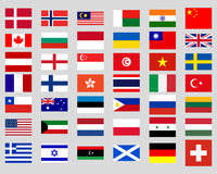 Collection of flags of the world Stock Photography