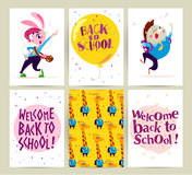 Collection of flat back to school card designs with lettering, animals and seamless backgrounds. Stock Photo