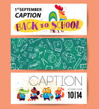 Collection of flat back to school card designs with lettering, animals and seamless backgrounds. Royalty Free Stock Photography