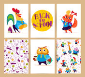 Collection of flat back to school card designs with lettering, animals and seamless backgrounds. Stock Image