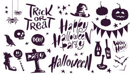 Collection of flat black vector halloween traditional decoration elements  on white background lettering, spiders, pumpkin Stock Images