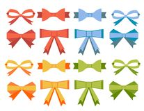 The collection of flat bow Royalty Free Stock Image