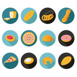 Collection of flat bread icons Royalty Free Stock Image
