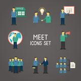 Collection of flat business people stock illustration