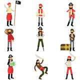 Collection of flat cartoon pirate characters in different situations, robbers and treasure hunters Stock Photos
