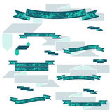 Collection of the flat color textured ribbons Royalty Free Stock Photography