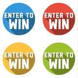 Collection of 4 flat colorful buttons with ENTER TO WIN text Stock Image