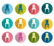 Collection of flat colorful chair. Royalty Free Stock Photography