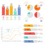 Collection of flat colorful diagram, bar and line graph, pie chart elements. Statistical data visualization concept. Simple infographic design template. Vector Royalty Free Stock Photography