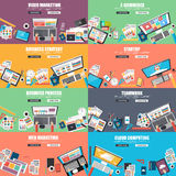 Collection of flat design concept for business Royalty Free Stock Photos