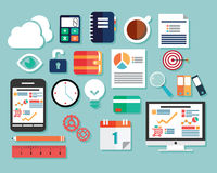 Collection of flat design icons, computer and mobile devices, cl Stock Image
