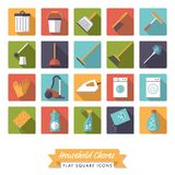 Household chores flat design square icon set. Collection of 20 flat design long shadow household chores icons in rounded squares Stock Photos
