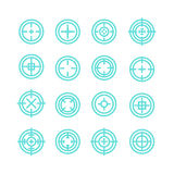 Collection of flat game targets . Crosshair icon. Aim icon. Bullseye sign. Shootimg mark set. Target icon.Computer game element, military concept Stock Images