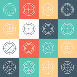 Collection of flat game targets . Crosshair icon. Aim icon. Bullseye sign. Shootimg mark set. Target icon.Computer game element, military concept Stock Photos