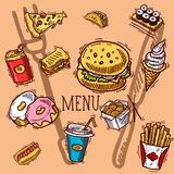 Collection of flat hand drawn sweets and fast food. Vector set. Collection of flat hand drawn sweets and fast food in funny style. Vector set royalty free illustration