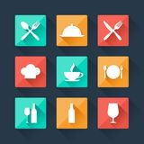 Collection flat icons food and drink for web Royalty Free Stock Photo