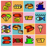 Collection flat icons. Food symbols. Vector Stock Images