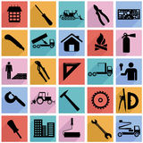 Collection flat icons with long shadow. Construction symbols. Vector illustration Stock Image