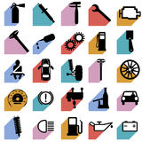 Collection flat icons with long shadow. Car Royalty Free Stock Images
