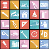 Collection flat icons with long shadow. Construction symbols. Vector illustration Stock Photography