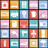 Collection flat icons with long shadow. Electrical Stock Images