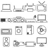 Collection flat icons with long shadow. Electrical Stock Photo