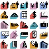Collection flat icons with long shadow. Finance Stock Images