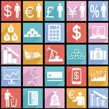 Collection flat icons with long shadow. Finance Royalty Free Stock Photos
