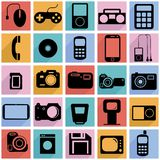 Collection flat icons with long shadow. Multimedia Royalty Free Stock Photo