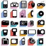 Collection flat icons with long shadow. Multimedia Stock Photography
