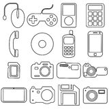 Collection flat icons with long shadow. Multimedia Stock Photo