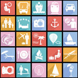 Collection flat icons with long shadow. Travel Royalty Free Stock Images