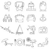 Collection flat icons with long shadow. Travel Royalty Free Stock Photo