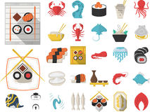 Collection of 29 flat icons for seafood Royalty Free Stock Image