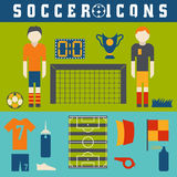 Collection of flat icons on the theme of football Royalty Free Stock Photography