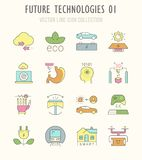 Set Vector Line Retro Flat Icons of Future Technologies. Royalty Free Stock Images