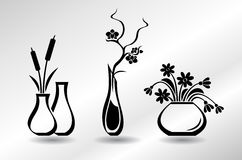 Collection of flat icons vases with flowers: orchid, snowdrops, bulrush. Collection of flat icons vases with flowers, orchid, snowdrops, bulrush vector illustration
