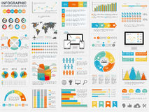 Collection of flat infographic vector design template. Can be used for workflow processes, flow chart, banner, number options, web design, infographic elements Royalty Free Stock Images