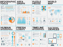 Collection of flat infographic vector design template. Can be used for workflow processes, flow chart, banner, number options, web design, infographic elements Royalty Free Stock Photo